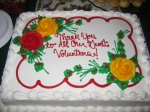 As the cake says, 'Thank you to all of our great volunteers!'